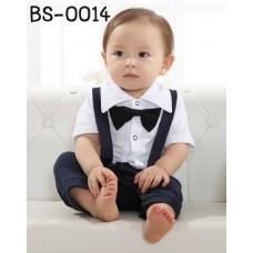 bs0014 ชุดบอดี้สูทเด็กออกงานเอี๊ยมทักซิโด้แขนสั้น ขา 3 ส่วน สายไขว้ด้านหลัง ติดหูกระต่าย สีกรมท่า