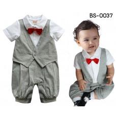 bs0037 ชุดบอดี้สูทเด็กออกงานแขนสั้น เสื้อกั๊กทักซิโด้สีเทา ติดหูกระต่ายสีแดง