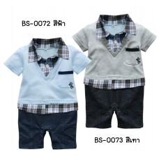 BS0072 ชุดบอดี้สูทเด็กเสื้อคอปก แขนสั้น เสื้อด้านในลายสก๊อต สีฟ้า