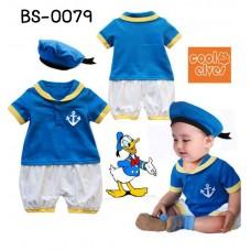 bs0079 ชุดบอดี้สูทเด็กแฟนซี โดนัลดัคส์ สีฟ้า พร้อมหมวก (2ชิ้น) S.90