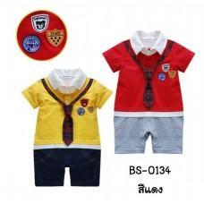 bs0134 ชุดบอดี้สูทเด็กออกงาน สีแดงแขนสั้นเนคไทด์สีแดงลายสก๊อต