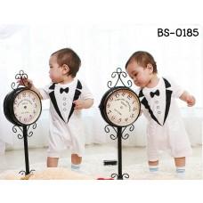 bs0185 ชุดบอดี้สูทเด็กออกงาน สไตล์ชุดทักซิโด้ สกรีนปกดำ กระดุม และหูกระต่าย สีขาว