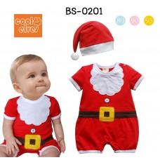 BS0201 ชุดบอดี้สูทเด็ก ซานตาครอสน้อย พร้อมหมวกสีแดง ฉลองคริสมาสต์นี้ (2ชิ้น)