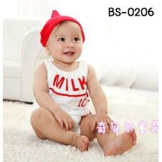 BS0206 ชุดบอดี้สูทแฟนซีเด็ก ลายขวดนมแขนกุดสีขาว พร้อมหมวกสีแดง (2ชิ้น)
