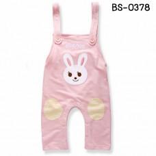bs0378 ชุดบอดี้สูทเด็ก สายเดี่ยวขายาวลายกระต่าย สีชมพู