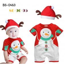 BS0463 ชุดบอดี้สูทแฟนซีเด็ก ซานตาครอส ลายสโนว์แมน พร้อมหมวกหูกวาง ฉลองคริสมาสต์นี้ (2ชิ้น)