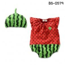 BS0579 ชุดบอดี้สูทเด็ก แฟนซีผลไม้ ลายแตงโม พร้อมหมวก (2ชิ้น) S.80/95