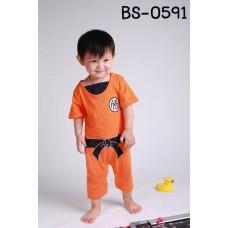 BS0591 ชุดบอดี้สูทแฟนซีเด็ก แขนสั้น ดราก้อนบอล สีส้ม