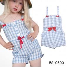 BS0600 ชุดเด็กผู้หญิง จั๊มสูท สายเดี่ยว แต่งโบว์สีแดง ลายตารางสีฟ้า S.80