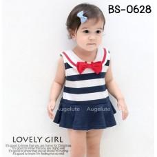 BS0628 ชุดบอดี้สูทเด็กผู้หญิง แขนกุดคอบัว ติดโบว์สีแดง ลายขวางสีขาวสลับกรมท่า S.80/90