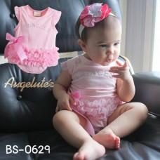 BS0629 ชุดบอดี้สูทเด็กผู้หญิง แนวเจ้าหญิงแขนกุด แต่งเพชร Princess ผ้านิ่ม สีชมพู