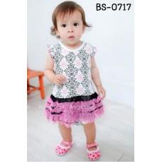BS0717 ชุดบอดี้สูทเด็กผู้หญิง แขนระบาย ลายไทย ระบายขอบสะโพกสีชมพู