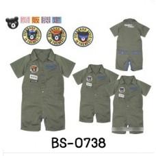 BS0738 ชุดบอดี้สูทเด็กผู้ชาย แนว Miki House คอปก แขนสั้น ผ้าเนื้อยีนส์ สีเขียว S.80