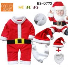 BS0773X << สินค้ามีตำหนิ >> ชุดบอดี้สูทแฟนซีเด็ก แขนยาว ซานตาครอสน้อย พร้อมเคราและหมวก ฉลองคริสมาสต์นี้ (3ชิ้น) S.80