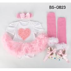 BS0823 ชุดบอดี้สูทแฟนซี เด็กผู้หญิงครบเซ็ท ลายหัวใจ + ผ้าคาดผม + ถุงขา + รองเท้า (4ชิ้น)