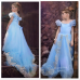 GI0867 ชุดเจ้าหญิงซินเดอเรลล่า Cinderella เชือกถักหลัง กระโปรงหางยาว สีฟ้า