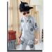 CO0183 ชุดวอร์มเด็กผู้ชาย เด็กโต เสื้อคลุมกันหนาวแขนยาวซิปหน้า ลายเสือ+ กางเกงวอร์ม สีเทา (2ชิ้น)