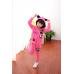 CO0166 ชุดวอร์มเด็กผู้หญิง เสื้อคลุมแขนยาวพร้อมฮู้ดแมวเหมียว + กางเกงขายาว สีชมพูเข้ม (2ชิ้น) S.100