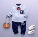 BO0464 ชุดเด็กผู้ชายออกงาน เสื้อเชิ๊ตแขนยาวลายทางสีฟ้า หูกระต่ายแดง กางเกงขายาวสีน้ำเงิน (3ชิ้น) S.80