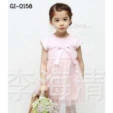 GI0158 เดรสเด็กผู้หญิง ออกงานแขนสั้น เสื้อสีชมพู กระโปรงผ้าชีฟองสีชมพู