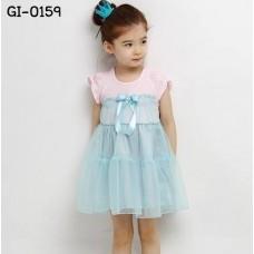 GI0159 เดรสเด็กผู้หญิง ออกงานแขนสั้น เสื้อสีชมพู กระโปรงผ้าชีฟองสีฟ้า