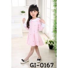 GI0167X << สินค้ามีตำหนิ >> เดรสเด็กผู้หญิงแขนยาว คอบัว และขอบปลายแขนสีขาว ตัวเดรสสีชมพู S.120