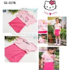 GI0178 เดรสเด็กผู้หญิง แขนสั้น สกรีนหน้าคิตตี้ สีชมพู S.110