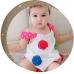 GI0213 เดรสเด็กผู้หญิงสีขาว ติดดอกไม้หลากสี พร้อมกางเกงใน (2ชิ้น)