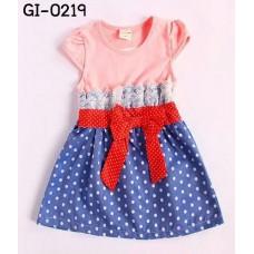 GI0219 เดรสเด็กผู้หญิง สียีนส์ลายจุด ผูกโบว์สีแดง แต่งลูกไม้ช่วงอก เสื้อแขนสั้นสีชมพู