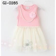 GI0285 เดรสเด็กผู้หญิง แขนกุดสีชมพู แต่งสร้อยไข่มุกและดอกไม้ กระโปรงฟูฟ่อง