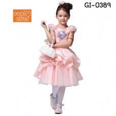 GI0389 เดรสเด็กผู้หญิง ออกงาน แขนกุด Frozen ลายเจ้าหญิง Elsa สีชมพู S.100