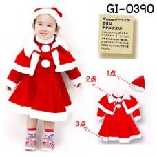 GI0390 เดรสแฟนซีเด็กผู้หญิงซานตาครอสน้อย พร้อมผ้าคลุมไหล่ และหมวก ฉลองคริสมาสต์นี้ (3ชิ้น)