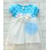 GI0424 เดรสเด็กผู้หญิง ออกงานแขนสั้น สีฟ้า ลายจุดด้านบน แต่งดอกไม้ที่อก 3 ดอก กระโปรงพริ้วๆ สีขาว