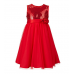 GI0451 เดรสเด็กผู้หญิงออกงาน แขนกุด ปักเลื่อม แต่งกุหลาบ สีแดง