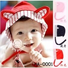 ha0001 หมวกเด็กเล็กมีหูแมวน่ารักมาก สีแดง