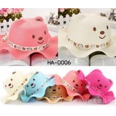ha0006 หมวกหน้าหมีติดโบว์ที่หู ขอบหมวกระบาย (เลือกสี)