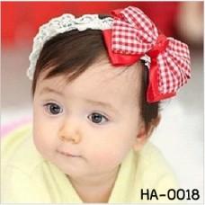 ha0018 ผ้าคาดผมสาวน้อย ติดโบว์ใหญ่ลายตารางสีแดงสลับขาว