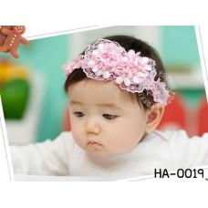 ha0019 ผ้าคาดผมสาวน้อย ผ้าลูกไม้ ติดดอกไม้ดอกเล็กๆ 2 ช่อ สีชมพู