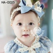 ha0025 ผ้าคาดผมสาวน้อย ติดโบว์ใหญสีฟ้า แต่งลูกไม้สีขาว