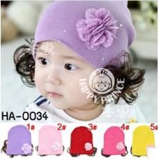 HA0034 หมวกคลุมผมสาวน้อยติดปอยผม แต่งดอกไม้และเพชร มี 5 สี