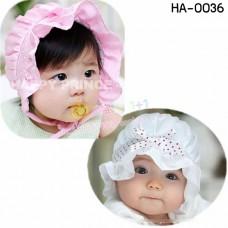 HA0036 หมวกสาวน้อยแต่งโบว์และลูกไม้ ขอบระบาย มี 2 สี