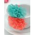 ha0059 ยางรัดผมติดดอกไม้ 2 ดอก 2 สี สีส้มขาว