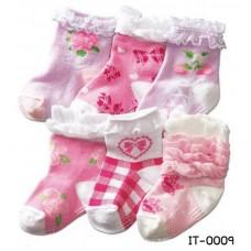 it0009 ถุงเท้าเด็กผู้หญิง แสนหวาน มีปุ่มกันลื่นที่พื้นถุงเท้า แพ็ค 3 คู่ (คละลาย)