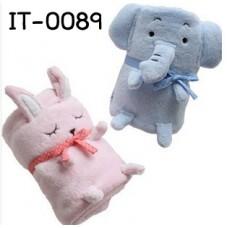 it0089 ผ้าห่มเด็ก ลายสัตว์ต่างๆ น่ารักมากค่ะ ลายช้างสีฟ้า