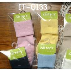 it0133 ถุงเท้าเด็กเล็กพับข้อ สีชมพู/สีเหลืองเรียบๆ (แพ็ค 2 คู่)