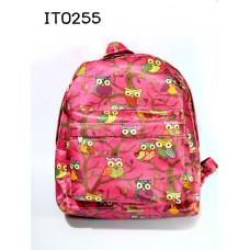 it0255 กระเป๋านักเรียนเด็ก ลายนกฮูกน่ารัก สีชมพูบานเย็น