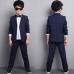 BO0567 ชุดสูทเด็กผู้ชายออกงาน เสื้อสูท + กางเกงขายาวลายตาราง สีกรมท่า (2ชิ้น)