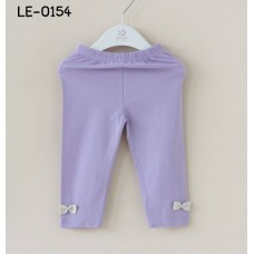LE0154 เล็คกิ้งเด็กผู้หญิง ติดโบว์ที่ปลายขา สีม่วงเรียบๆ S.110