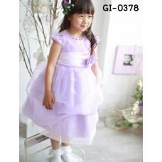 GI0378 เดรสเด็กผู้หญิงออกงาน แต่งลูกปัดรอบคอ และดอกไม้ที่เอว สีม่วง