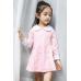 GI0167 เดรสเด็กผู้หญิงแขนยาว คอบัว และขอบปลายแขนสีขาว ตัวเดรสสีชมพู